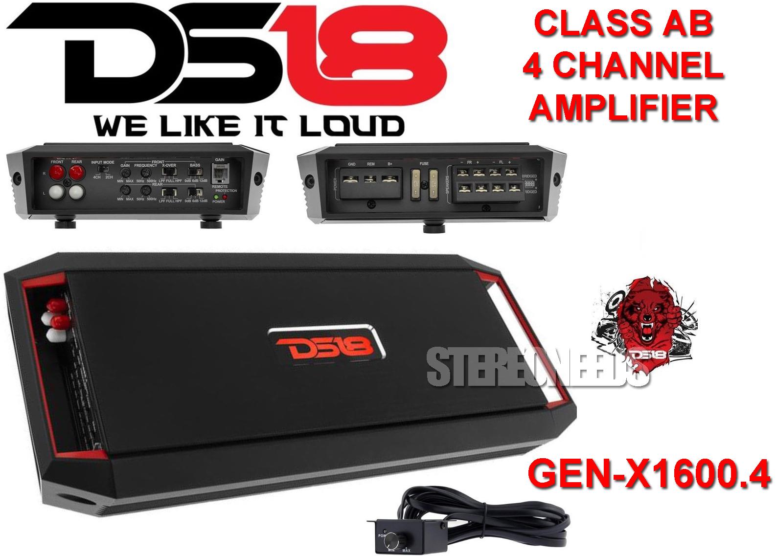 Details about DS18 GEN-X1600 4 4/2 Channel Car Amplifier 1600 Watt  Speaker/Sub Amp Bass Knob