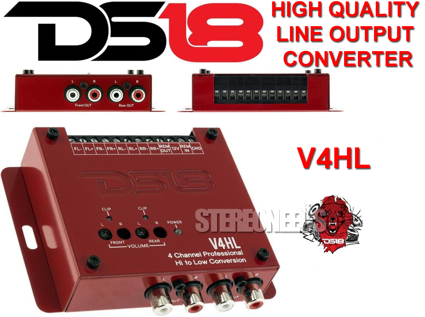 DS18 V4HL 4-Channel Car Line Out Converter High-Level Speaker Signal to RCA Low